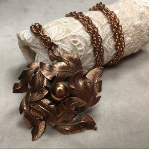 Vintage 60s Bell Copper Flower Necklace